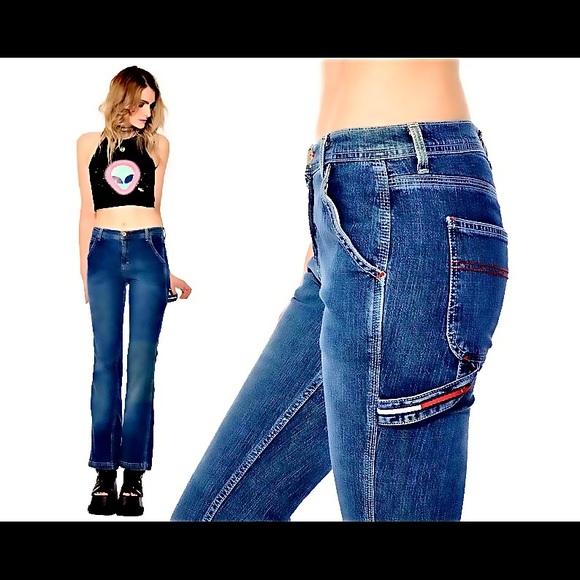 Size 33 Vintage Boyfriend Blue Cropped Denim Jeans